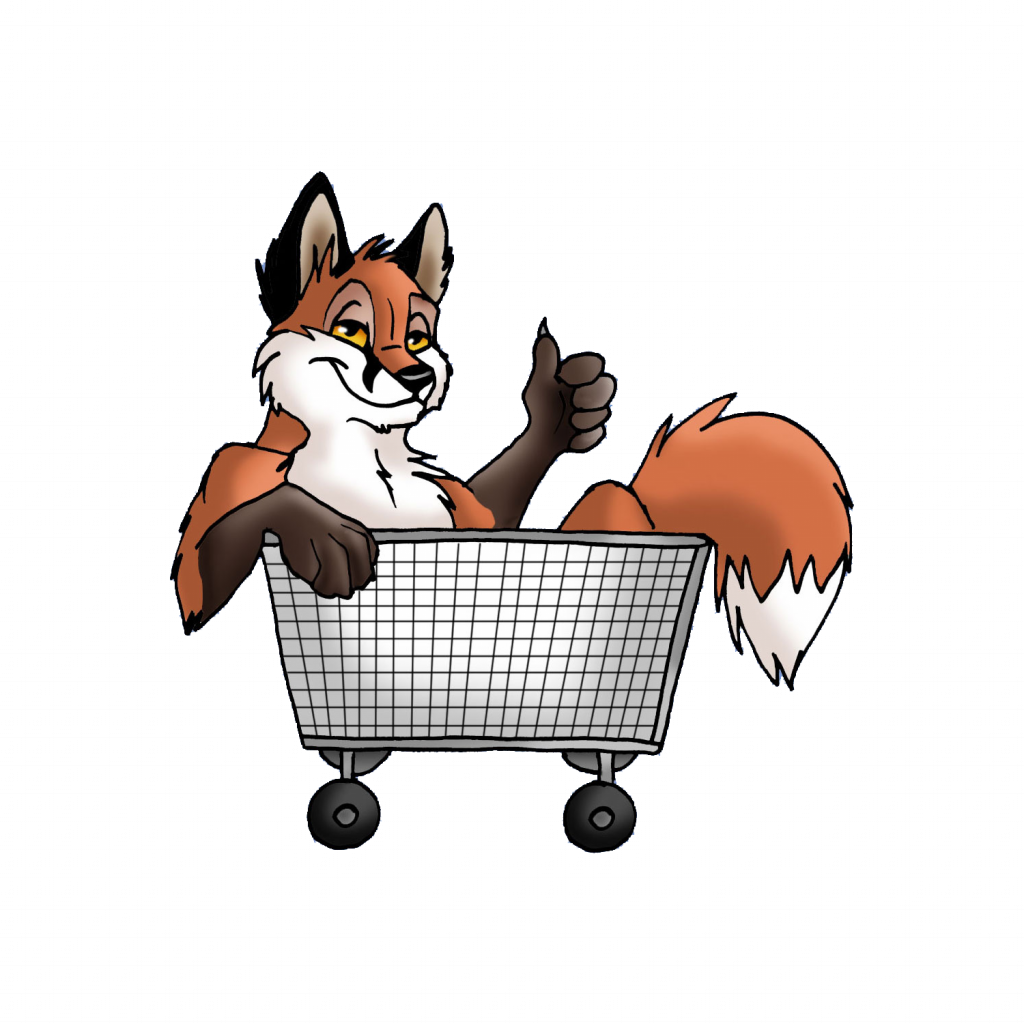 fox in shopping cart